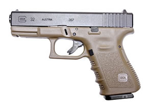 Glock Model 32 Compact Pistol PI3257201, 357 SIG, 4.02 in BBL, Dbl Actn Only, Polymer Grips, Fixed Sights, Olive Drab Finish, 10 + 1 Rds