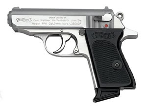 Walther Model PPK Pistol VAH38002, 380 ACP, 3.35 in BBL, Sngl / Dbl, Blk Syn Grips, Fixed Red Dot, Dvtl Red Line Sights, Stainless Finish, 6 + 1 Rds