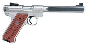 Ruger Mark III Model KMKIII678GC Rimfire Pistol 10112, 22 Long Rifle, 6 7/8 in BBL, Sngl Actn Only, Cocob Grips, Adj Sights, Stainless Finish, 10 + 1 Rds