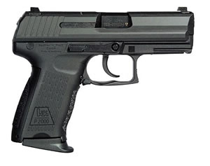 HK P2000 US Compact Pistol M704202A5 , 40 S&W, 3.62 in BBL, Dbl Actn Only, Modular Syn Grips, 3-Dot Sights, Blue Finish, 12 + 1 Rds