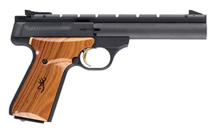 Browning Buck Mark Rimfire Pistol 051401490, 22 Long Rifle, 5 1/2 in in BBL, Single, Cocobolo Wood Grips, Blue Finish, 10 + 1 Rds