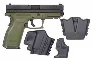 Springfield Model XD Package XD9201SP06, 9 MM, 4 in BBL, Dbl Actn Only, Polymer Grips, Fixed Dvtl 3 Dot Sights, Olive Drab/Blk Finish, 10 + 1 Rds