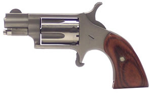 NAA Mini Revolver 22LRGBG, 22 Long Rifle, 1 1/8 in BBL, Sngl Actn Only, Boot Grips, Fixed Sights, Stainless Finish, 5 Rds