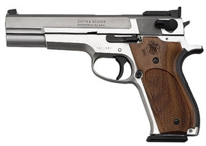 Smith & Wesson Model 952 Pistol 170244, 9 MM, 5 in BBL, Sngl Actn Only, Wood Grips, Satin Stainless Finish, 9 + 1 Rds