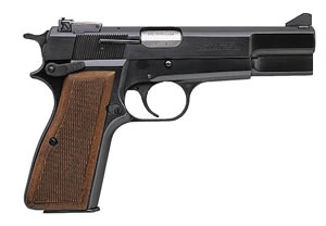 Browning Hi Power Standard Pistol 051003493, 9mm, 4 5/8 in in BBL, Single, Chk Walnut Grips, Blue Finish, 9 + 1 Rds, Adj Sights