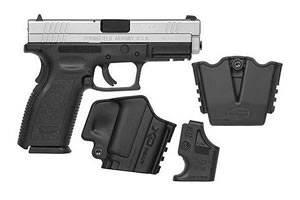 Springfield Model XD Package XD9301SP06, 9 MM, 4 in BBL, Dbl Actn Only, Polymer Grips, Fixed Dvtl 3 Dot Sights, Stainless Slide/Blk Frame, 10 + 1 Rds
