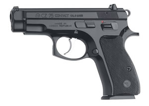 CZ Model 75 Compact Pistol 01193, 9 MM, 3.9 in BBL, Sngl / Dbl, Blk Syn Grips, Fixed Sights, Satin Nickel Finish, 10 + 1 Rds