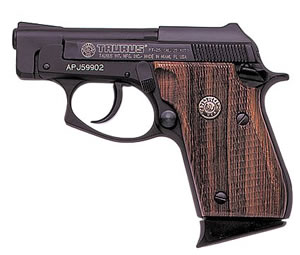 Taurus Model PT-25 Small Frame Pistol 1250031, 25 ACP, 2 3/4 in BBL, Dbl Actn Only, Wood Grips, Fixed Sights, Blue Finish, 9 + 1 Rds