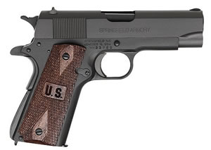 Springfield GI Champ Pistol PW9143LP, 45 ACP, 4 in BBL, Sngl / Dbl, Wood Grips, Low Prof Military Sights, Park Finish, 7 + 1 Rds
