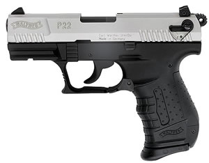 Walther Model P22 Pistol CAP22004, 22 Long Rifle, 3.4 in BBL, Sngl / Dbl, Polymer Grips, 3-Dot Adj Sights, Nickel Finish, 10 + 1 Rds
