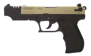 Walther Model P22 Pistol CAP22006, 22 Long Rifle, 5 in BBL, Sngl / Dbl, Blk Syn Grips, 3-Dot Adj Sights, Nickel Finish, 10 + 1 Rds