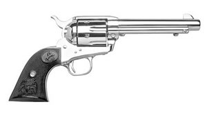 Colt Single Action Army Revolver P1876, 45 Long Colt, 7 1/2 in BBL, Sngl Actn Only, Blk Comp Grips, Fixed Sights, Nickel Finish, 6 Rds