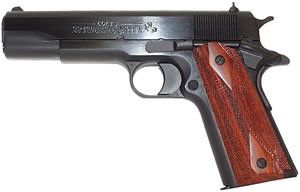 Colt 1991 Government Pistol O1991, 45 ACP, 5 in BBL, Sngl Actn Only, Rosewood Grips, 3-Dot Sights, Mt Blue Finish, 7 + 1 Rds