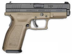 Springfield Model XD Package XD9121HCSP06, 9 MM, 4 in BBL, Dbl Actn Only, Polymer Grips, Blk Slide/Dk Earth Frame, 16 + 1 Rds