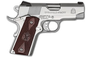Springfield Ultra Compact Pistol PX9161LP, 45 ACP, 3 1/2 in BBL, Sngl / Dbl, Coco Wood Grips, Fixed Dvtl 3 Dot Sights, Stainless Finish, 6 + 1 Rds