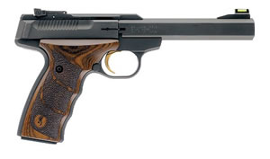 Browning Buck Mark Plus Pistol 051428490, 22 Long Rifle, 5 1/2 in in BBL, Single, Wood Ultra DX Grips, Matte Blue Finish, 10 + 1 Rds