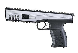 Walther SP22 Target Pistol WAP22203, 22 Long Rifle, 6  in BBL, Sngl Actn Only, Polymer Grips, Adj Sights, Bi-tone, Blk and Stainless Finish, 10 + 1 Rds