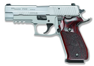 Sig Sauer P220 Pistol 220R45SSE, 45 ACP, 4.4 in BBL, Sngl / Dbl, Wood Grips, Night Sights, Stainless Finish, 8 + 1 Rds