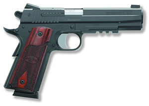 Sig Sauer 1911 Nitron Rail Pistol 1911R45BSS, 45 ACP, 5 in BBL, Sngl Actn Only, Wood Grips, Novak Night Sights, Blk Finish, 8 + 1 Rds