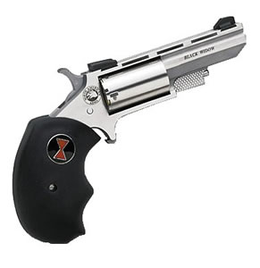 NAA Black Widow Revolver BWL, 22 Long Rifle, 2 in BBL, Sngl Actn Only, Blk Rubber Grips, Fixed Sights, Stainless Finish, 5 Rds