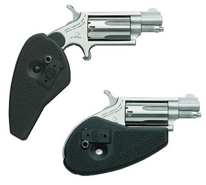 NAA Mini Revolver Combo HGMSC, 22 LR / 22 WMR, 1 1/8 in BBL, Sngl Actn Only, Blk Holster Grips, Mt Stainless Finish, 5 Rds