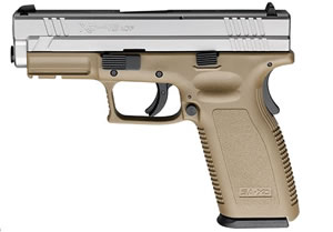 Springfield Model XD Package XD9163HCSP06, 45 ACP, 4 in BBL, Dbl Actn Only, Polymer Grips, 3-Dot Sights, Dk Earth Tan/Stainless Finish, 13 + 1 Rds