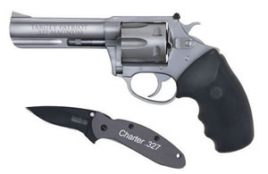 Charter Arms Patriot Revolver 73274, 327 Federal Magnum, 4 in BBL, Sngl / Dbl, Rubber Grips, Adj Sights, Stainless Finish, 6 Rds