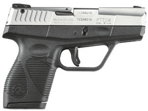 Taurus Model 709 Slim Pistol 1709039BD, 9 mm, 3.28 in, Polymer Grip, Black/Stainless Steel Finish, 7 + 1 Rd, w/Case