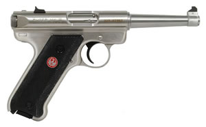 Ruger Mark III Model KMKIII6 Rimfire Pistol 10115, 22 Long Rifle, 6  in BBL, Sngl Actn Only, Blk Syn Grips, Fixed Sights, Stainless Finish, 10 + 1 Rds