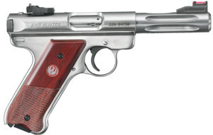 Ruger Mark III Model KMKIII45H Rimfire Pistol 10132, 22 Long Rifle, 4 1/2 in BBL, Dbl Actn Only, Coco Wood Grips, Stainless Finish, 10 + 1 Rds