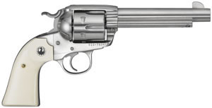 Ruger Bisley Vaquero Revolver 5129, 45 Long Colt, 5 1/2 in BBL, Sngl Actn Only, Simulated Ivory Grips, Fixed Sights, High Gloss Stainless Finish, 6 Rds