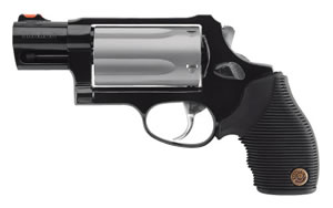 Taurus Model 45/410 Compact Revolver 2441039TCTI, 410 GA / 45 Long Colt, 2 in BBL, Sngl / Dbl, Ribber Grip Overlay, Fiber Opt Sights, Blue Steel/Titanium Finish, 5 Rds