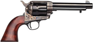 Taylors Cattleman Revolver 451, 45 Long Colt, 5 1/2 in in BBL, Single, Wood Grips, Case Hard Blue/ Brass Backstrap/Trigger Guard, 6 Rds