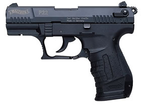 Walther Model P22 Pistol WAP22010, 22 Long Rifle, 3.4 in BBL, Sngl / Dbl, Polymer Grips, 3-Dot Adj Sights, Blk Finish, 10 + 1 Rds