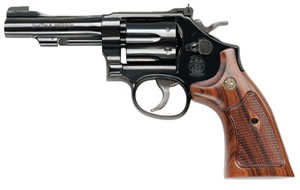 Smith and Wesson Model 48 Classic Revolver 150717, 22 Magnum, 4 in, Wooden Target Grip, Bright Blue Finish Finish, 6 Rd
