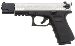 Austrian Sporting M22 Pistol M111001, 22 Long Rifle, 4 in, Black Polymer Grip, Black Frame/Matte Silver Slide, 10 + 1 Rd