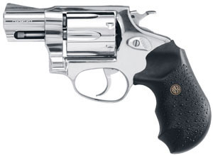 Rossi Revolver R46202, 357 Remington Mag, 2 in BBL, Sngl / Dbl, Blk Rubber Grips, Fixed Sights, Stainless Finish, 6 Rds
