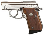 Taurus Model PT-25 Small Frame Pistol 1250035, 25 ACP, 2 3/4 in BBL, Dbl Actn Only, Wood Grips, Fixed Sights, Nickel Finish, 9 + 1 Rds