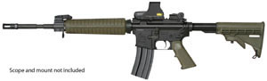 Armalite Model M15A4C Rifle, 7.62 X 39 MM, Semi-Auto, 16 in, Collapsible Stock, Green/Black Finish, 30 + 1 Rd
