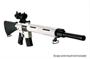 DPMS Panther Arctic Rifle RFA2AP, 223 Remington/5.56 NATO, Semi-Auto, 20 in BBL, A2 w/Trapdoor Stock, Black/White Finish, 30 + 1 Rd
