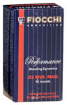 Fiocchi Shooting Dynamics Ammunition 22FWMA, 22 Magnum, Jacketed Soft Point, 40 GR, 1910 fps, 50 Rd/bx
