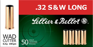 Sellier & Bellot Ammunition SB32SWLB 32 S&W Long, Wad Cutter, 100 GR, 50 Rd/bx