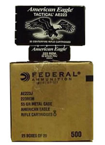 Federal American Eagle Tactical Ammunition AE223J, 223 Rem, Metal Case Boat-Tail, 55 GR, 20 Rd/Bx