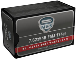 MFS Rifle Cartridges 20060, 7.62mmX54mm Russian, Full Metal Jacket, 174 GR, 20 Rd/bx