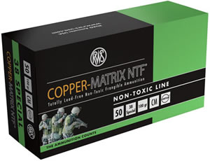 RWS Copper Matrix NTF Ammunition CM38, 38 Special, Non Toxic/Frangible, 100 GR, 1132 fps, 50 Rd/bx