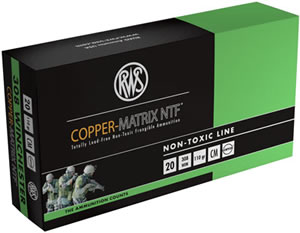 RWS Copper Matrix NTF Ammunition CM308, 308 Win, Non Toxic/Frangible, 110 GR, 3049 fps, 20 Rd/bx