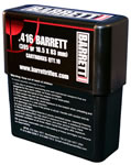 Barrett Solid Brass Ammunition 416801, 416 Barrett, Boat Tail, 395 GR, 3250 fps, 80 Rds