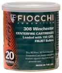 Fiocchi Rifle Ammunition Canned Heat 308CA, 308 Winchester, Full Metal Jacket Boat-Tail, 150 GR, 2890 fps, 20 Rds
