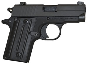 Sig Sauer P238 Pistol 238380B, 380 ACP, 2.7 in BBL, Sngl Actn Only, Aluminum Grips, Fixed Sights, Blk Finish, 6 + 1 Rds