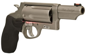 Taurus Model 45/410 The Judge Magnum Revolver 2441039MAGCT, 410 GA / 45 Long Colt, 3 in BBL, Sngl / Dbl, Crim Trc Lsr Grips, Fixed Sights, Mt Stainless Finish, 5 Rds